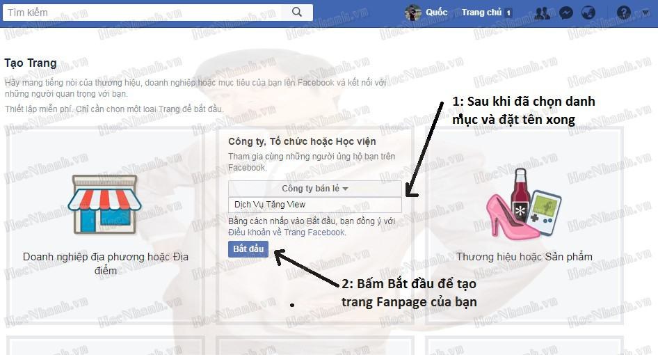 Cach tạo fanpage facebook ban hang