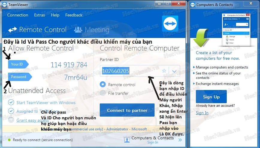 teamviewer điều khiển máy tính từ xa