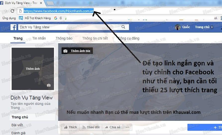 cách đổi link fanpage facebook
