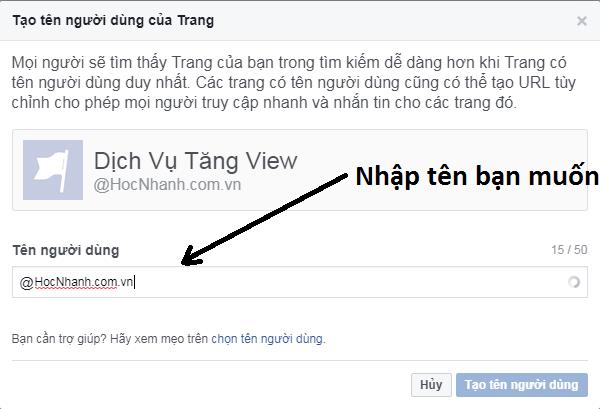 Cach đổi link url fanpage facebook