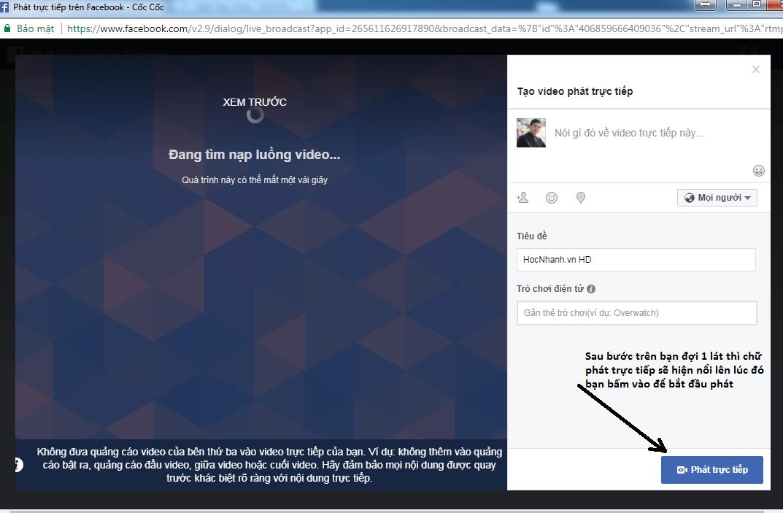 Huong dan phat truc tiep tren Facebook bang may tinh