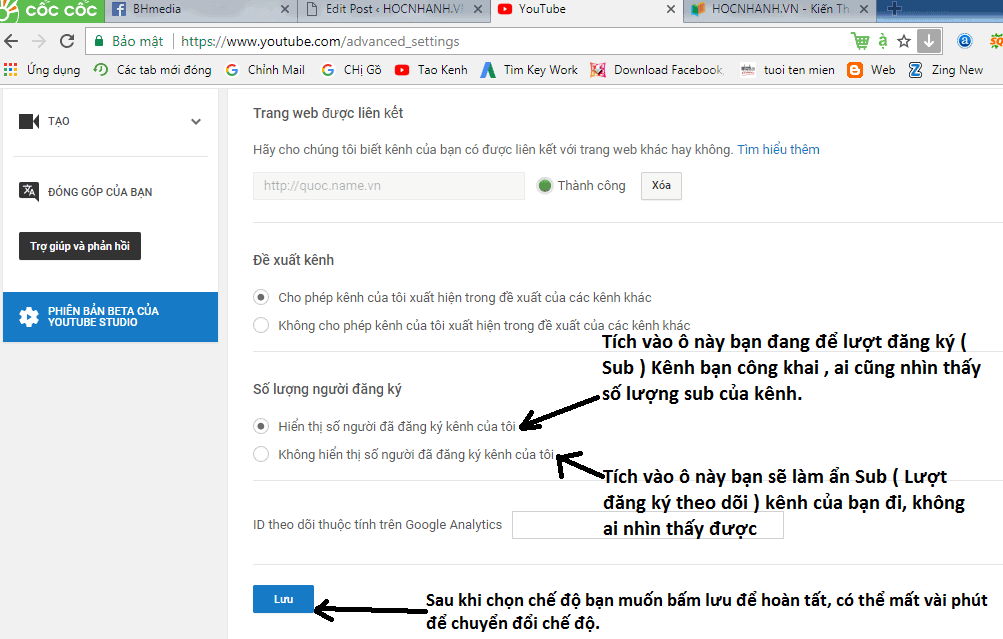 Cai dat Cong khai va an luong dang ky kenh Youtube