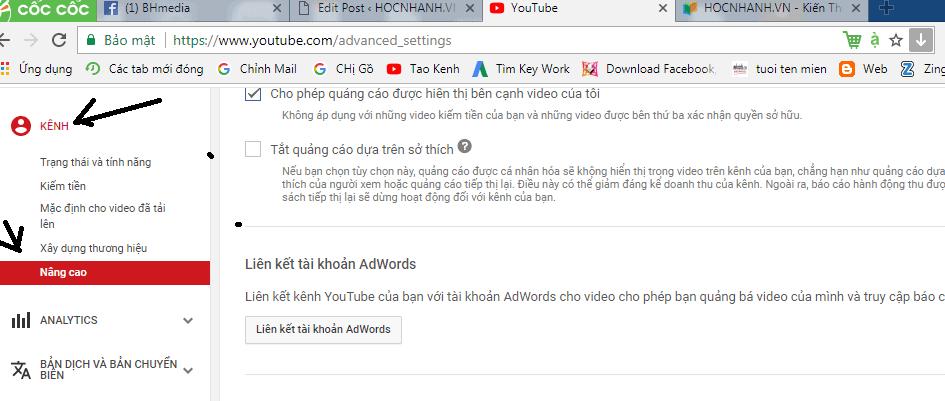 Cai dat che do an sub và cong khai sub Youtube