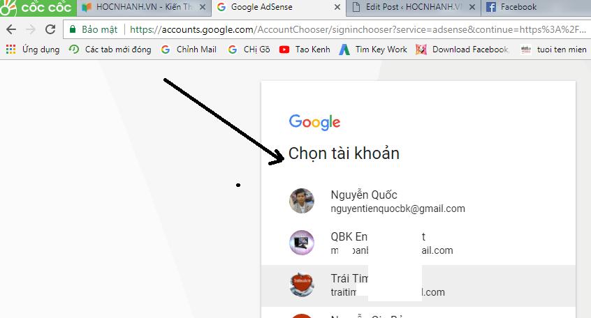Chon kenh Youtube de Dang Ky Adsense