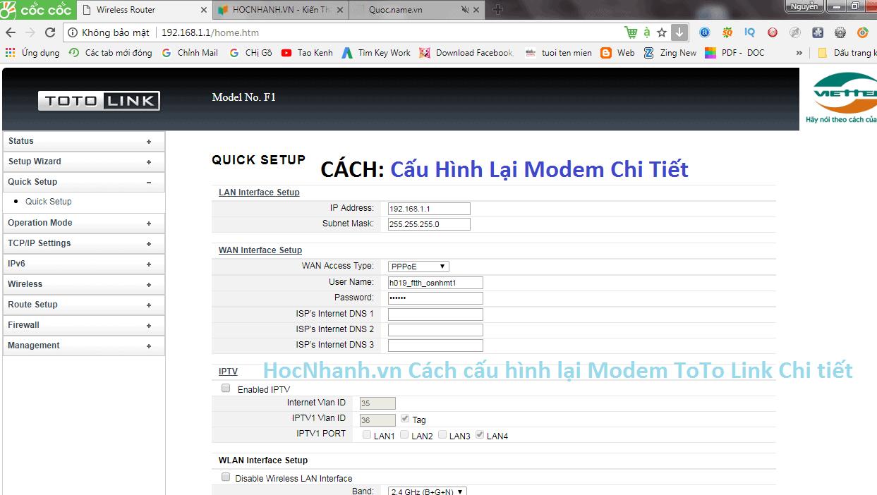 Cach cau Hinh Modem Viettel Chi Tiet