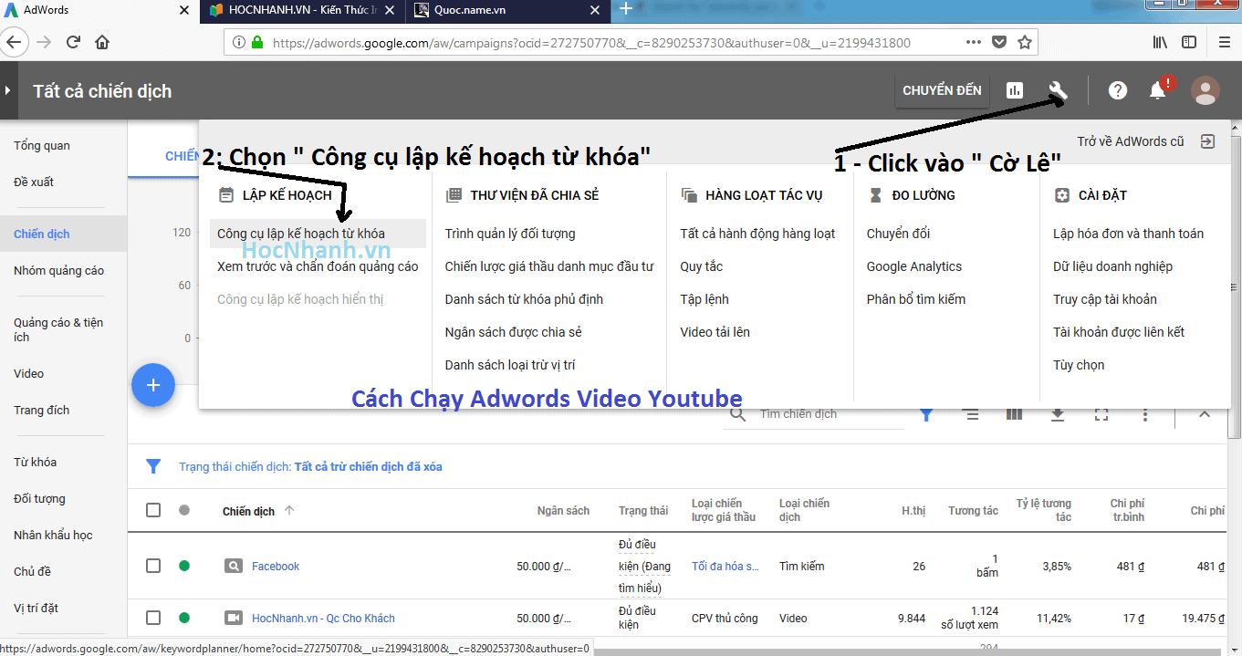 Cách Chạy Adwords Video Youtube