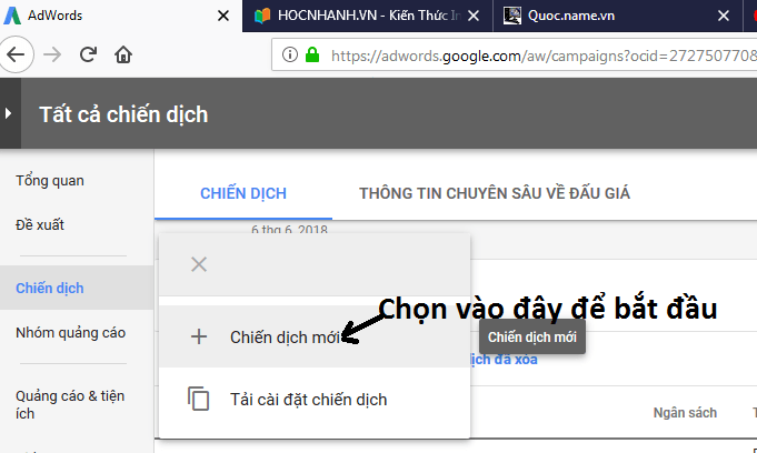Cai chien dich moi quang cao Adwords