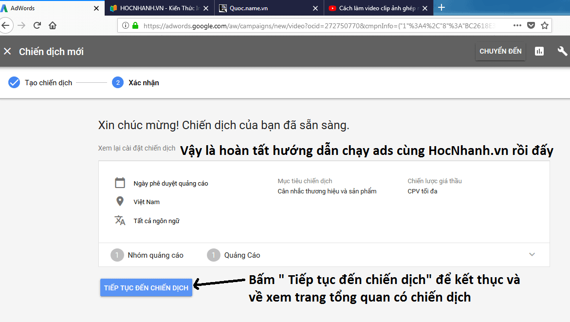 Cai dat Adwords Youtube chi tiet