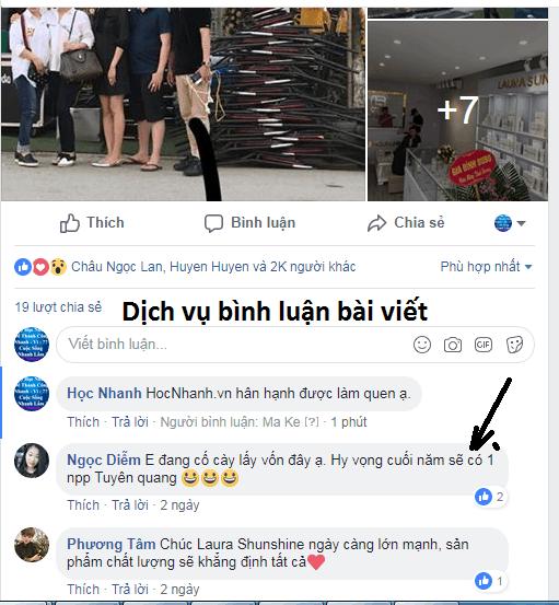Dich Vu Tang Binh Luan Bai Viet Facebook