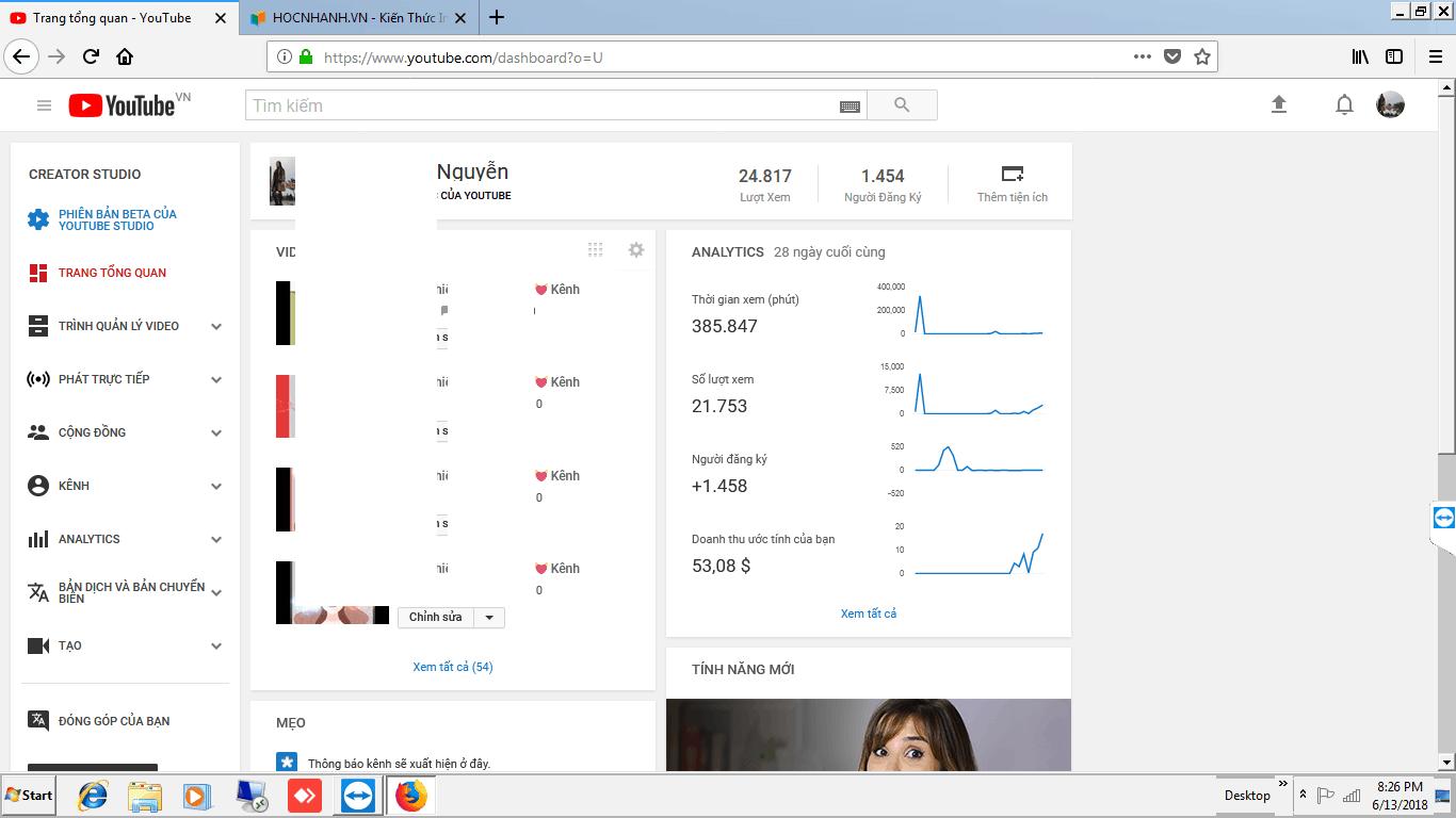 1000 lượt xem Youtube tại Việt Nam được bao nhiêu tiền