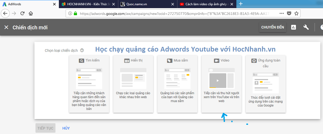 Hoc chay quang cao Adwords Video Youtube re