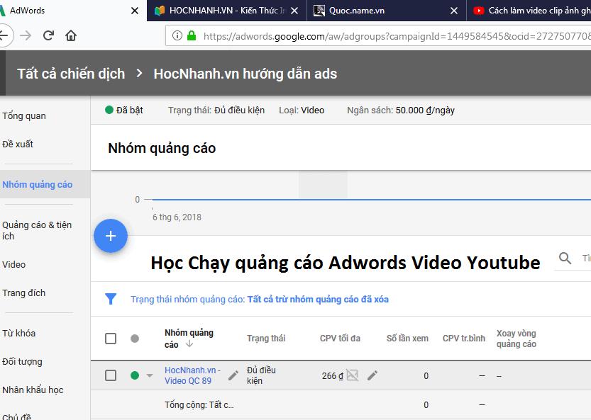 Hoc quang cao Adwords Youtube hieu qua