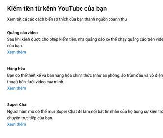 Bật chức năng bán hàng Youtube