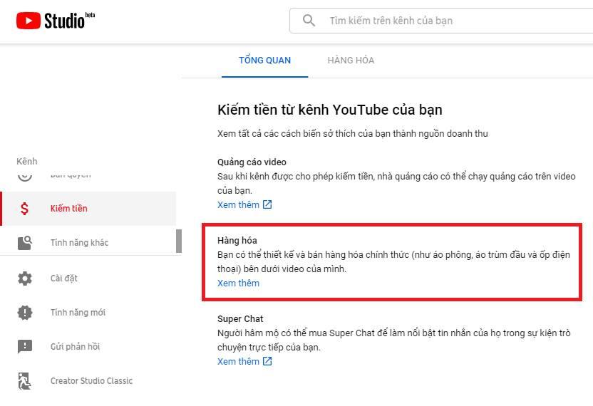 Chức năng bán hàng hóa Youtube