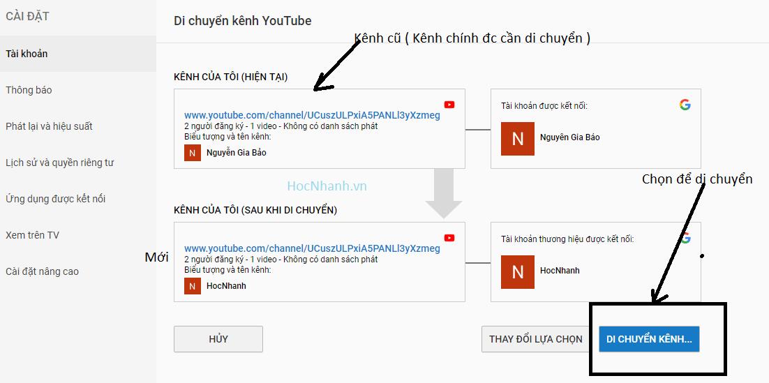 Di chuyen Kenh Youtube chinh sang Kenh Thuong Hieu