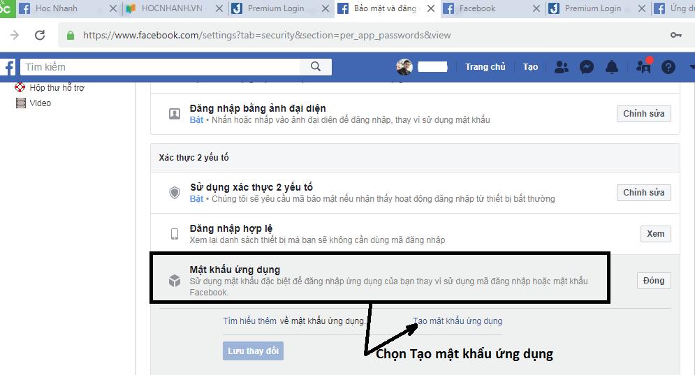 Tạo mật khẩu ứng dụng Facebook