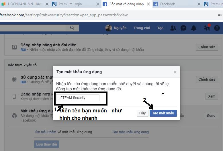 huong dan Cach Tạo mật khẩu ứng dụng Facebook