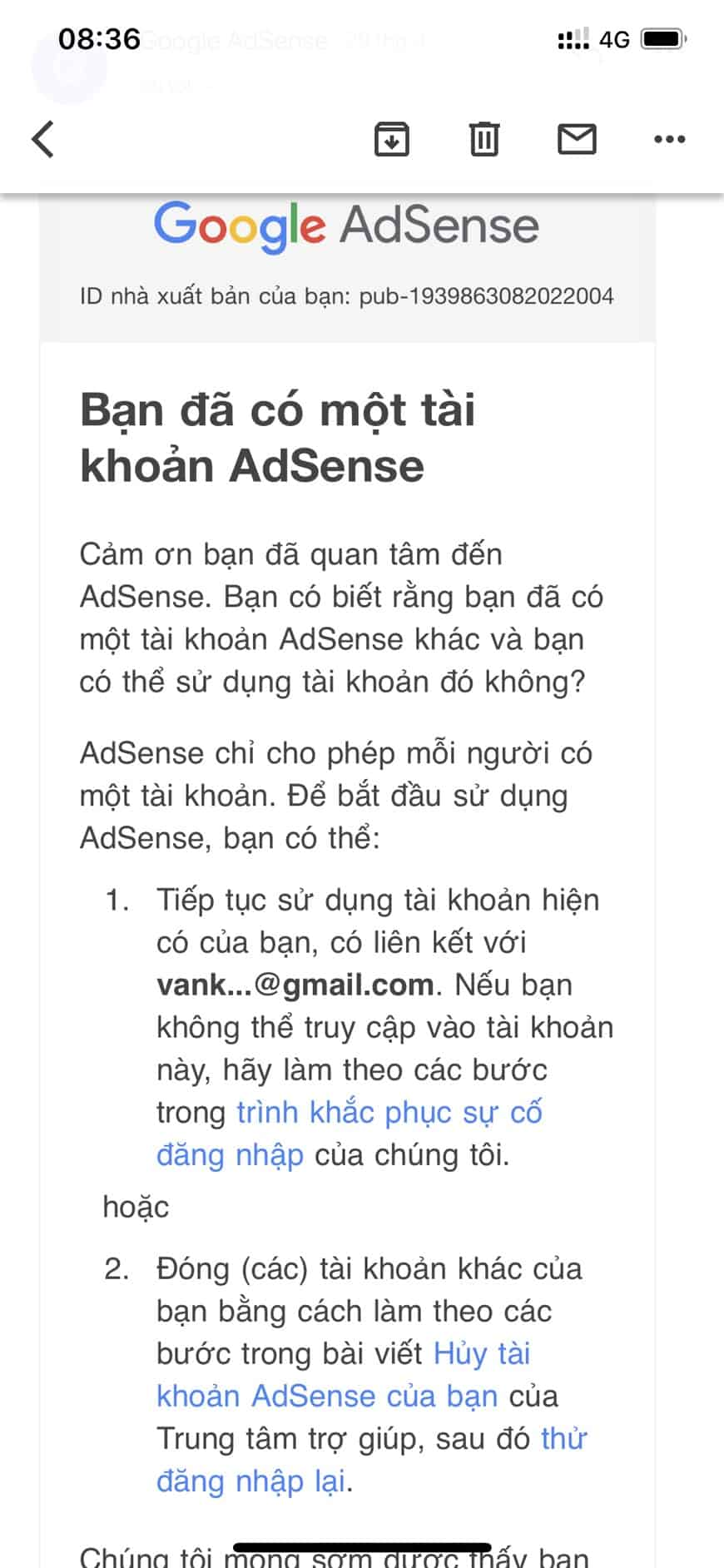 Bị tắt kiếm tiền do có 2 tài khoản Adsense Trùng Adsense