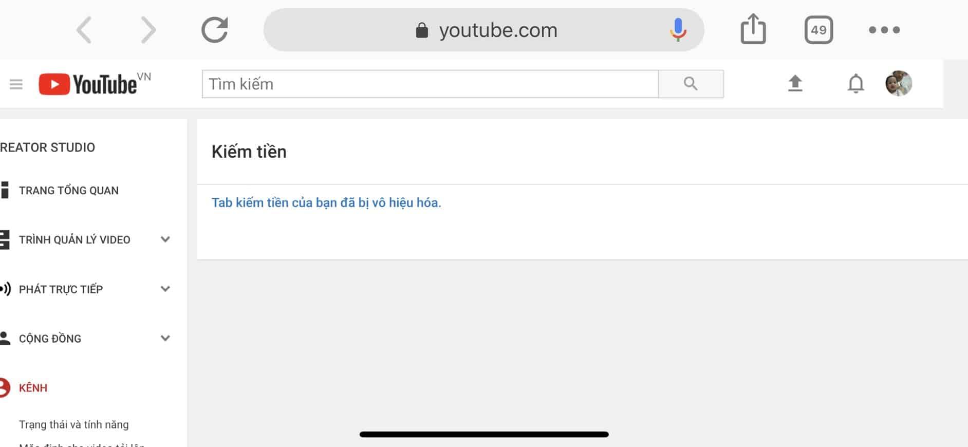Youtube Lỗi Tab Kiếm Tiền Của Bạn Đã Bị Vô Hiệu Hóa