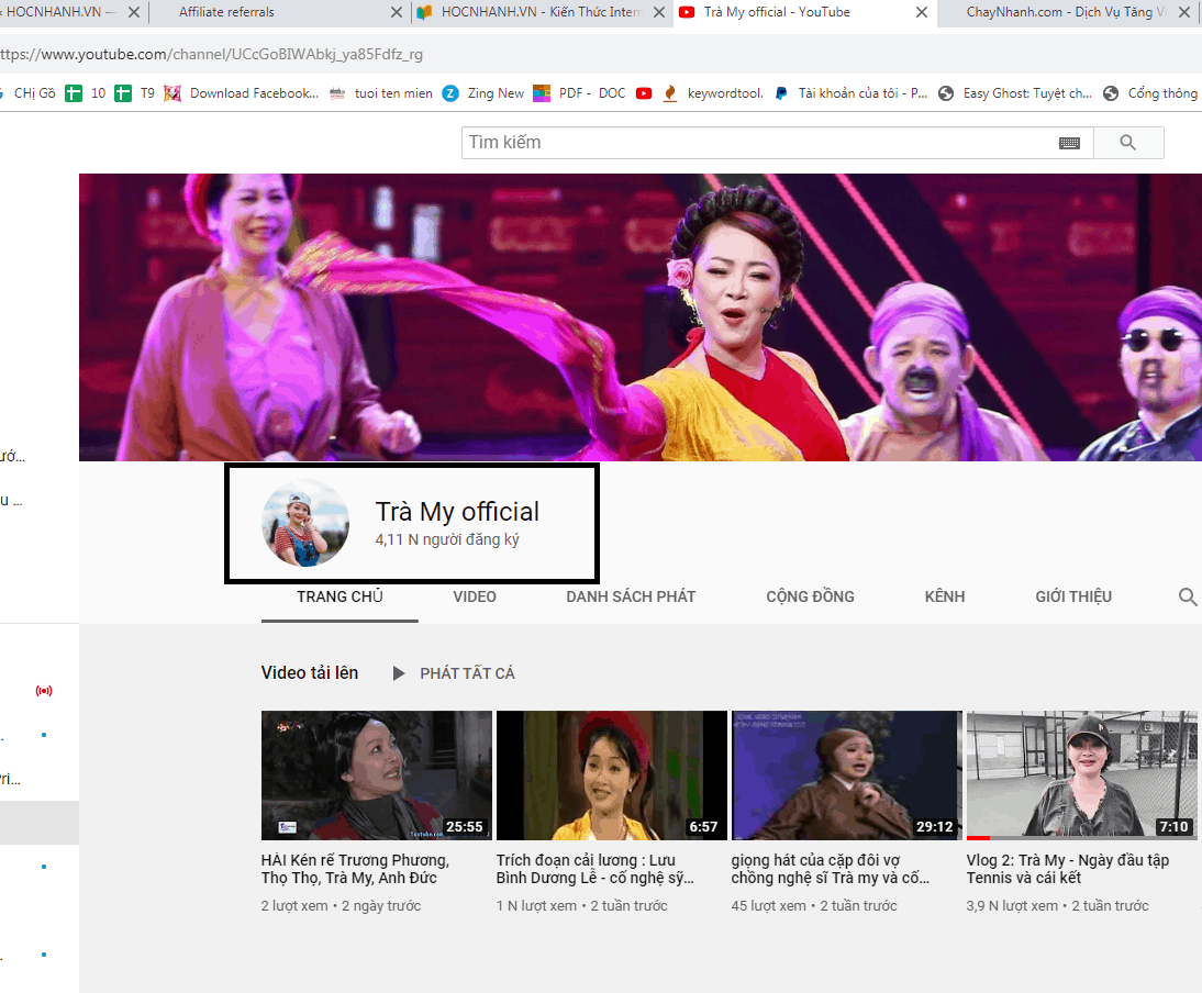Cach xem thong ke sub Youtube