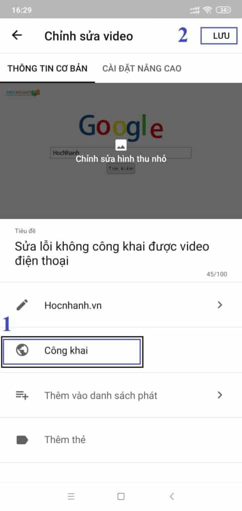 Công Khai video Youtube trên Điện Thoại