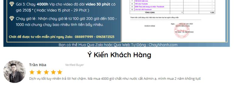 Dịch Vụ Tăng 4000 giờ xem Youtube