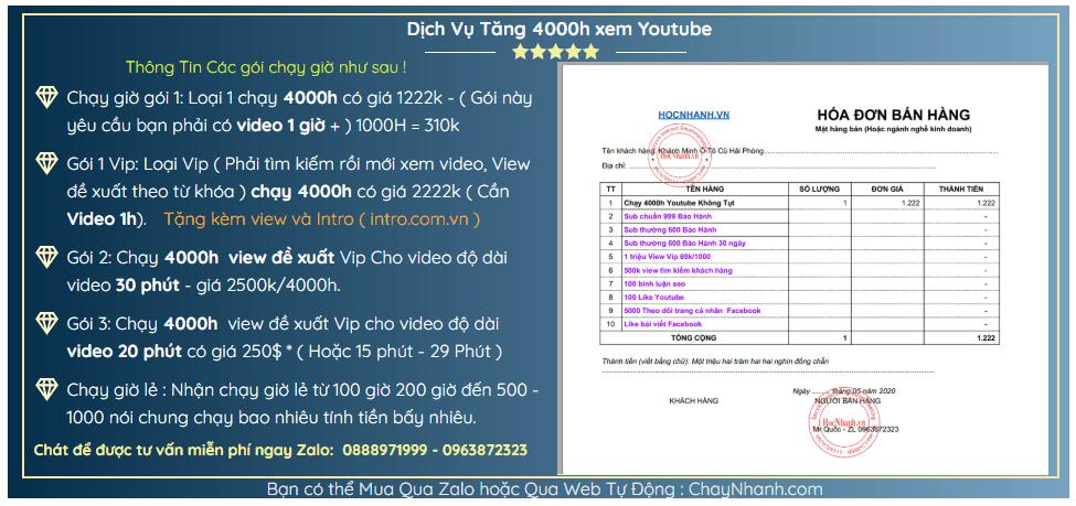 Tăng 4000 giờ xem Youtube uy tín